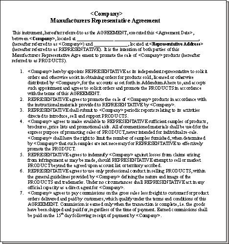 Sales representative agreements for Manufacturers rep agreement template